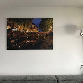 Klantfoto: Oudegracht in Utrecht met Gaardbrug van Donker Utrecht, op canvas