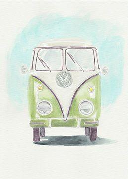 Retro Volkswagen Lieferwagen grün von Yvette Stevens