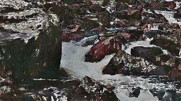 Wilder Fluss mit Felsen - Gemälde von Schildersatelier van der Ven