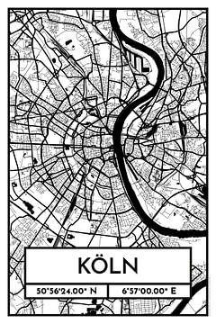 Keulen - Stadsplattegrondontwerp Stadsplattegrond (Retro)