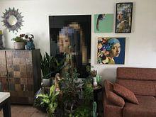 Photo de nos clients: Meisje Met de Parel – Flowers on Blue Edition sur Marja van den Hurk, sur toile