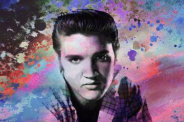 Elvis Presley Abstraktes Pop-Art-Portrait in verschiedenen Farben von Art By Dominic