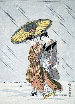 Schoonheden onder een paraplu - Japanse houtprint van Suzuki Harunobu van Roger VDB