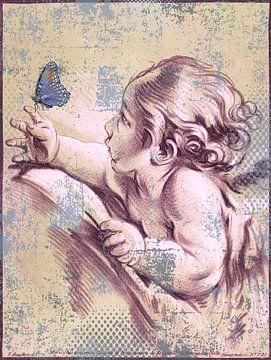 Mädchen spielt mit Schmetterling von Rudy & Gisela Schlechter