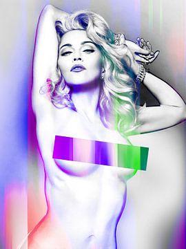Madonna Wahrheit oder Nackt wagen Abstraktes Lila Rosa von Art By Dominic