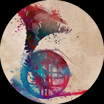 franse hoorn 4 muziekkunst #frenchhorn #muziek van JBJart Justyna Jaszke