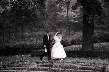 Brautpaar im De Heuvel-Park in Rotterdam von Ton Kuijpers