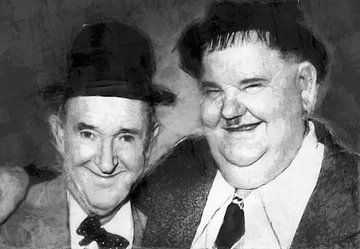 Ölgemaltes Porträt von Laurel & Hardy von Bert Hooijer