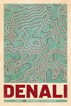 Denali | Landkarte Topografie (Retro) von ViaMapia