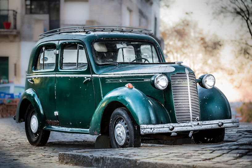 Oude Klassieke groene Vauxhall 14-6 van Jan van Dasler