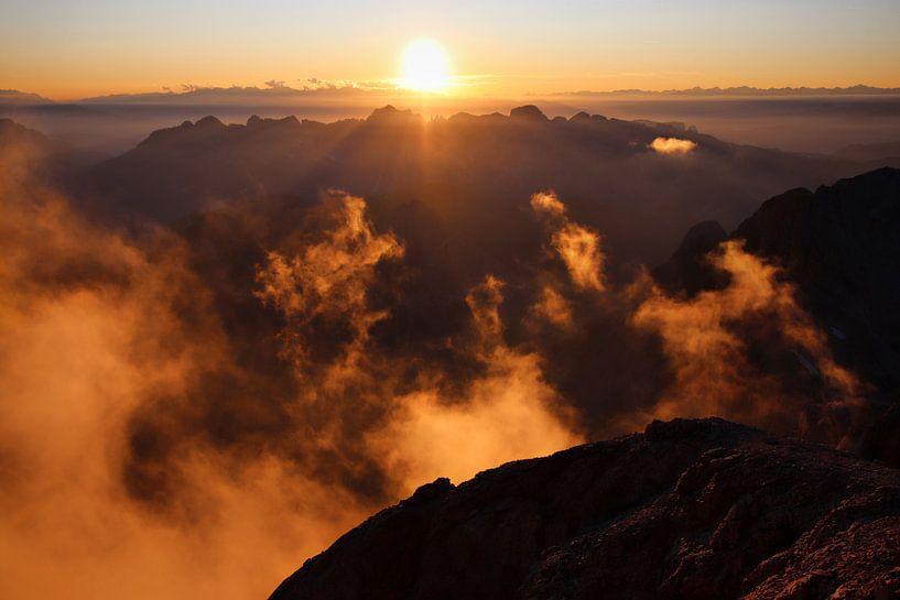 Zonsondergang op de Marmolada van Felina Photography