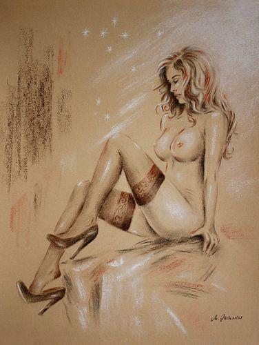 Sexy Meisje in bretels met mooie borsten van Marita Zacharias