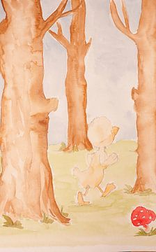 Rubbeldiduck Kinderbild Ente Aquarell Malerei von Beate Gube