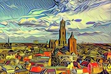 Schilderij van de Skyline van Utrecht in de stijl van Picasso van Slimme Kunst.nl
