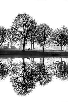Een spiegelende stadsgracht op een mistige morgen in Zwart Wit sur Harrie Muis