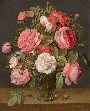 Rosen in einer Glasvase, Jacob van Hulsdonck von Meesterlijcke Meesters
