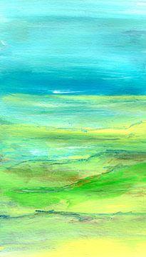 Einfach 1 Landschaft Gelb Türkis von Claudia Gründler