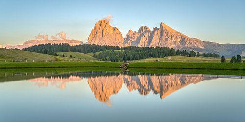 Alpenglühen auf der Seiser Alm Panorama
