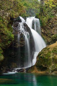 Waterfall in Vintgar gorge in Slovenia