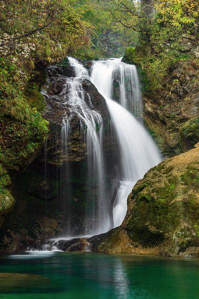 Waterfall in Vintgar gorge in Slovenia van Michael Valjak