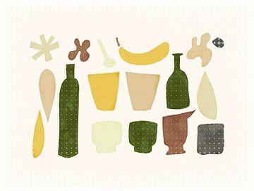 Zusammensetzung mit Flaschen und Banane von Joost Hogervorst