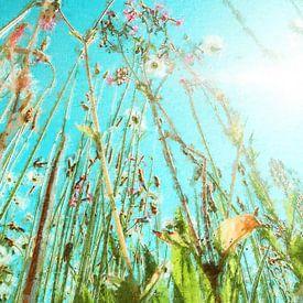 Feld Blumenstrauß gegen einen blauen Himmel (Gemälde) von Art by Jeronimo