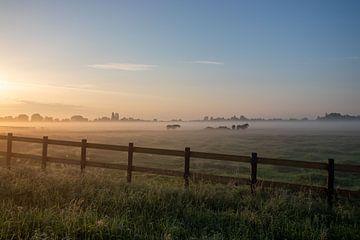 Niederländische Landschaft Sonnenuntergang Sonnenaufgang Wiese von Déwy de Wit