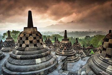 Borobudur, Boeddhistische tempel, Indonesie van Frans Lemmens