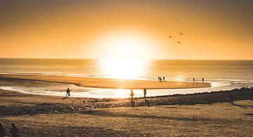 zonsondergang op het strand van Marinus Engbers
