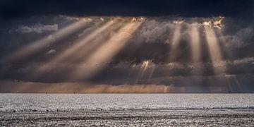 Zonneharpen boven het Wad vanaf de pier van Harlingen, Friesland van Harrie Muis