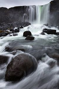De Öxará rivier en de Öxarárfoss waterval van Frits Hendriks