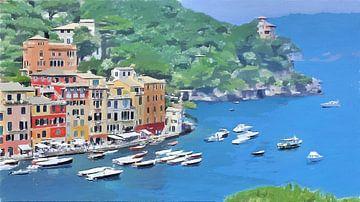 Italië - Uitzicht op de Monding van de Haven van Portofino - Schilderij