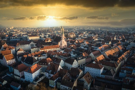 Stadt Straubing Luftbild mit Morgensonne