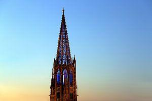 Illuminierter Münsterturm Freiburg