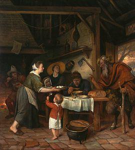 Jan Steen. De Satyr en de Boerenfamilie
