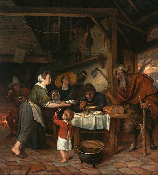 Jan Steen. De Satyr en de Boerenfamilie van 1000 Schilderijen