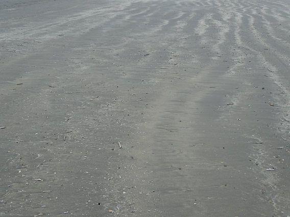 Structuur op het strand in een  vliegende storm van Tineke Laverman