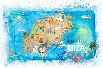 Ibiza Spanien illustrierte Karte mit Sehenswürdigkeiten und Highlights von Markus Bleichner