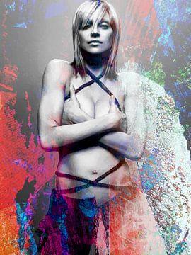 Madonna Abstrakt Porträt Rot Blau Weiß von Art By Dominic