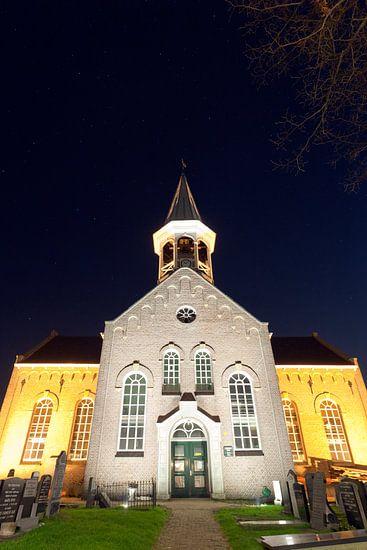 Kerk Midsland bij nacht van schylge foto