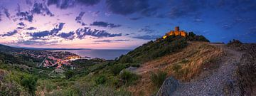 Collioure Panorama bij zonsondergang