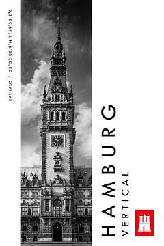 Hamburg Vertical Rathaus (Schwarz-weiß) von Christian Müringer