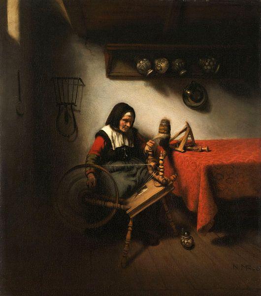 Alte Frau, die sich dreht, Nicolaes Maes von Meesterlijcke Meesters