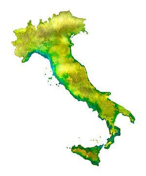 Italië | Landkaart in Aquarel van - Wereldkaarten.shop -