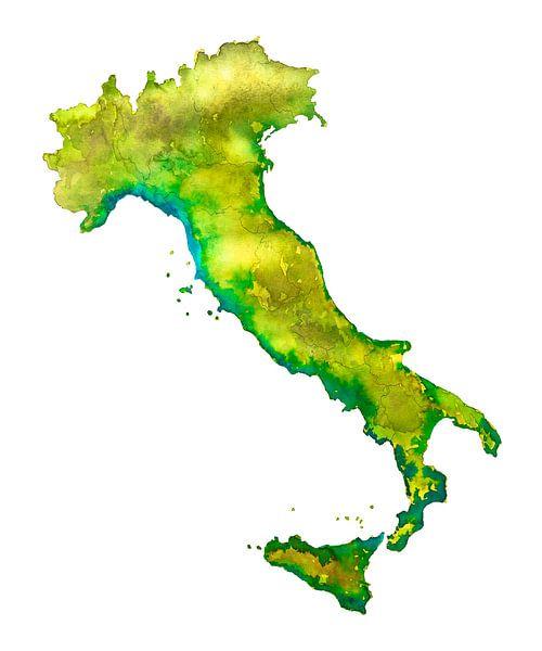 Italië | Landkaart in Aquarel van Wereldkaarten.Shop