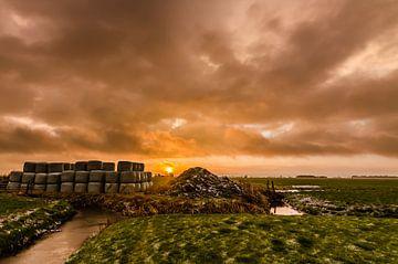 Zonsopkomst in het Friese landschap van