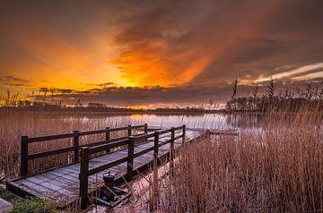 Opkomende zon (sunrise) in het Geestmerambacht Langedijk van René Groeneveld