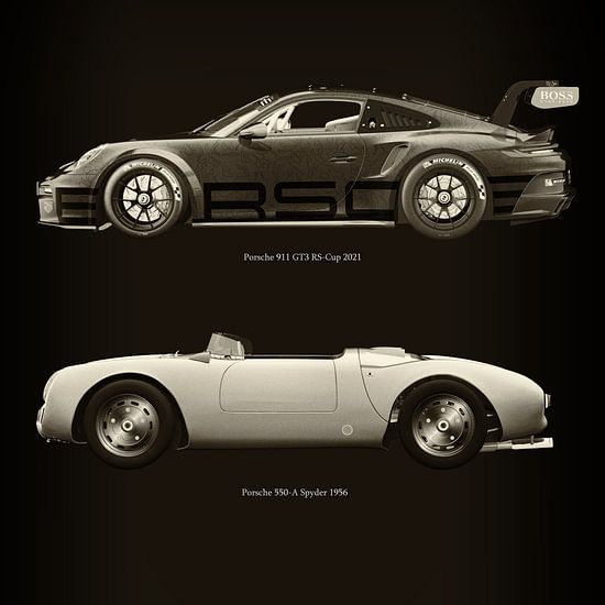 Porsche 911 GT-3 RS 2021 versus Porsche 550 Spyder