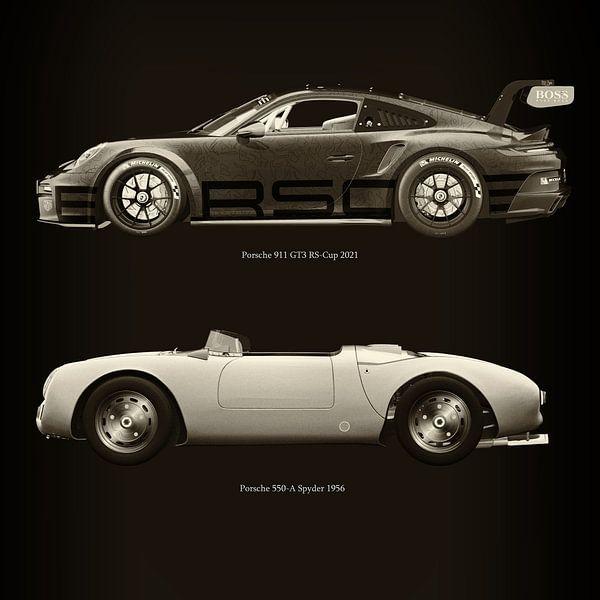 Porsche 911 GT-3 RS 2021 versus Porsche 550 Spyder van Jan Keteleer