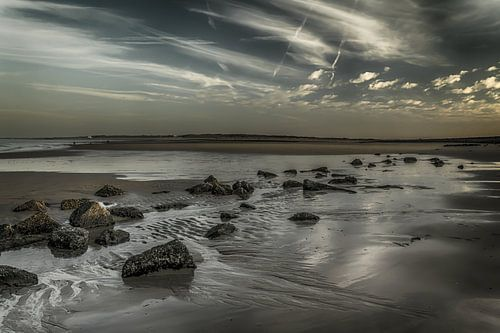 Eb strand Zeeland bij zonsondergang